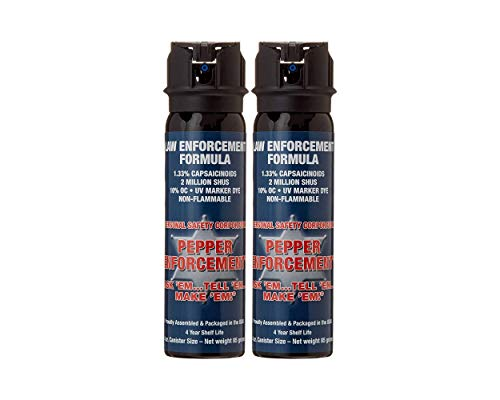 Pepper Enforcement 2-Pack PE1110MF-FT Fogger Pepper Spray for Self Defense - Maximum Strength 10% OC Police Grade Formula - Emergency Non Lethal Self Defense Personal Protection & Safety