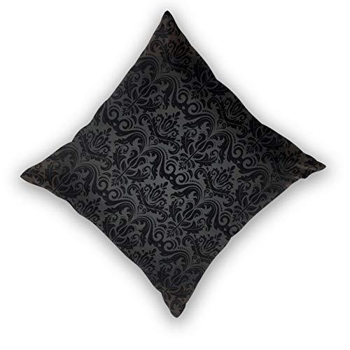 Fodera per cuscino con stampa 3D,Arabesque damascato motivo orientale nero grigio e vintage astratto flo,Moderna federa per divano divano letto auto 18'x 18' federa fodere per cuscino cerniera 2 pezzi