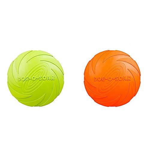Perro Frisbee Toy, Entrenamiento De Goma Pet Masticar Juguete, Utilizado para Entrenamiento De Perros Interactivo Al Aire Libre Entretenimiento (Verde, Naranja) 2pcs
