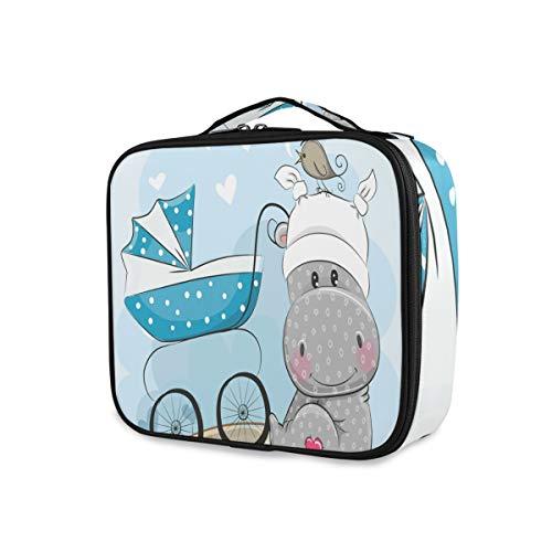 Outils Cosmetic Train Case Its A Boy Cute Hippo Girls Travel Storage Makeup Bag Toiletry Pouch Portable