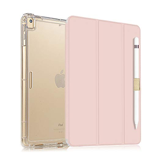 Valkit iPad 8th Generation Case, iPad 7th Generation Case, iPad 10.2 2020/2019 Case, Translucent Frosted Back Protective Smart Cover for 10.2' iPad 8 / iPad 7, Light Pink