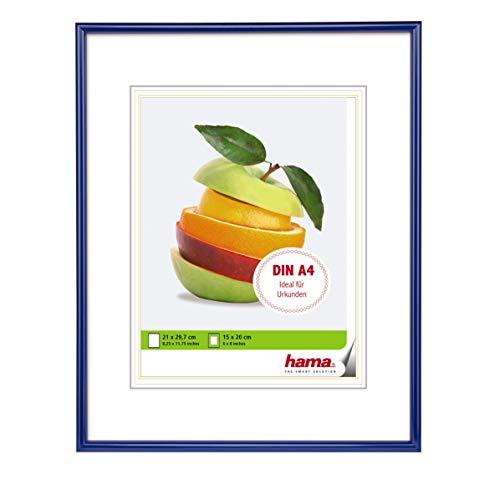 Hama Sevilla Bilderrahmen, DIN A4 (21 x 29,7 cm) mit Papier-Passepartout 15 x 20 cm, hochwertiges Glas, Kunststoff Rahmen, zum Aufhängen, blau