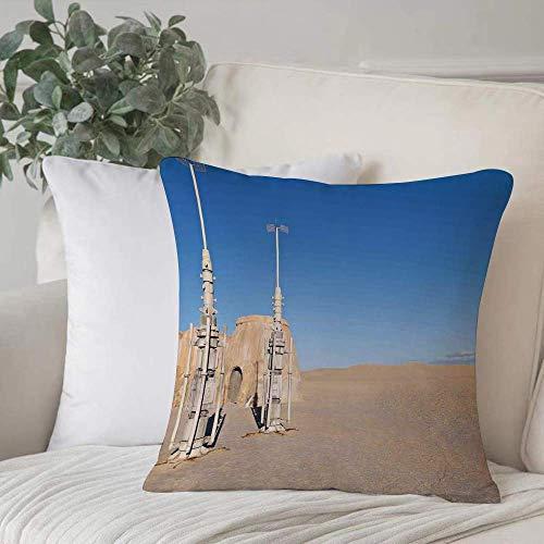 Qoqon Funda de Almohada, Funda de cojínGalaxy, ilustración del Set de películas Town of Famous en el Planeta Fantasy Space Wars THome Decor Funda de cojín Cozy Square para sofá Funda de Almohada