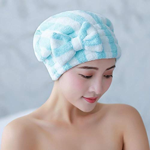 LinZX 2 pièces Microfibre Bad Hair Dry Cap Super Rapide Rockn Absorbent Bowknot Accessoires Douche Bouchon de Bain,Blue