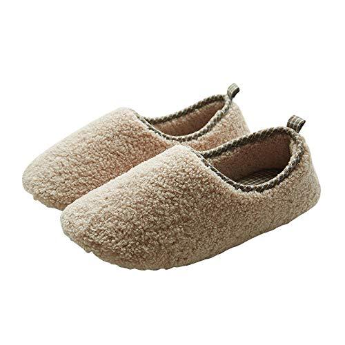 B/H Ultraligero cómodo Zapatillas de casa Mujer,Zapatos de algodón con tacón empaquetados, Piso de Madera para el hogar cálido, Muebles de Felpa-Beige_44-45