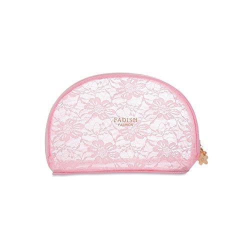 Portable de voyage en maille filet Organiseur de maquillage de toilette Sac Rose, grande taille rose rose S