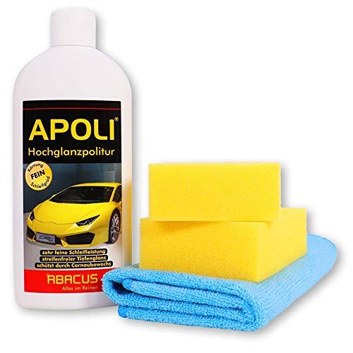 ABACUS 500 ml Apoli - Hochglanzpolitur/Autopolitur/Lackpolitur mit Schwamm & Tuch (7075)