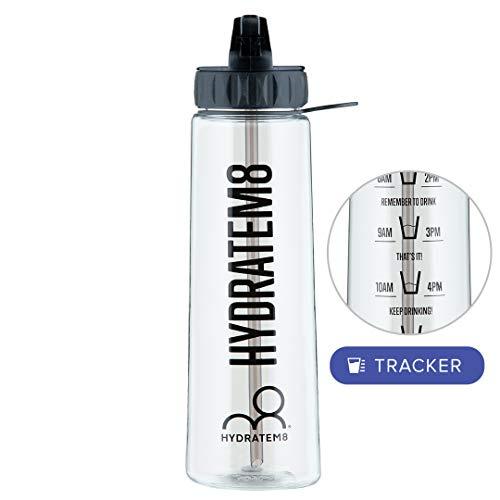 HYDRATEM8 900ml Motivierende Wasserflasche mit Zeitmarkierung-BPA frei-AuslaufsichereTrinkflasche mit Strohhalm