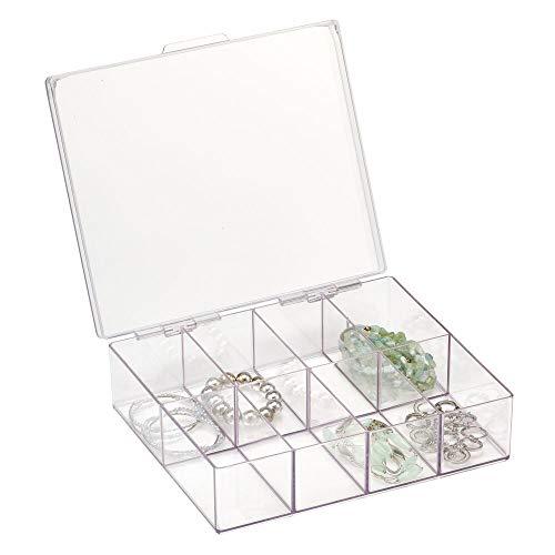 mDesign Porta gioielli con coperchio – Scatola portagioie quadrata con 8 scomparti in plastica – Organizer portaoggetti per orecchini, collane, bracciali e anelli – trasparente
