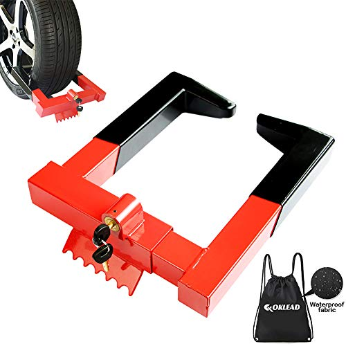 OKLEAD Anti Theft Trailer Wheel Lock Clamp - Security Tire Claw Boot for Golf Cart Motorcycle Trailers ATV Max 12' Width Tire with 2 Keys Red/Black