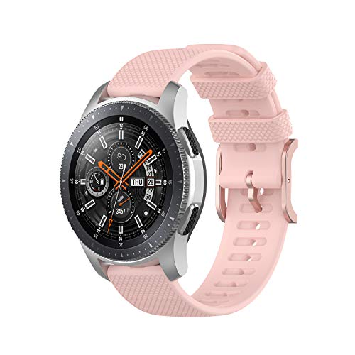 Bemodst Kompatibel für Samsung Galaxy Watch 3 45mm Armband, Galaxy Watch 46mm, 22mm Textur Silikon Armband Fitness Uhr Ersatzband Sport Armband (Pink)