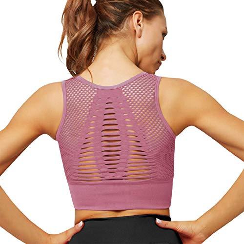 heekpek Sujetador Deportivo Mujer Shock Absorber Sujetadores Deportivos Mujer Alto Impacto Sin Aros Sin Costuras Bra Deporte Hueco Yoga Bra Bustier Chaleco Top