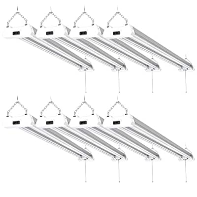 Sunco Lighting 8 Pack LED Utility Shop Light, 4 FT, Linkable Integrated Fixture, 40W=260W, 5000K Daylight, 4500 LM, Clear Lens, Surface/Suspension Mount, Pull Chain, Garage – ETL, Energy Star