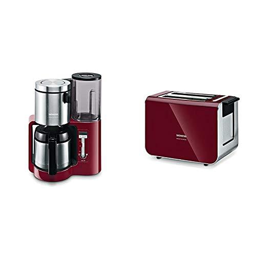 Siemens TC86504 Kaffeemaschine (Edelstahl Thermokanne, Uhrfunktion, für 8-12 Tassen, automatische Abschaltung, 1.100 Watt) rot & TT86104 Toaster / 860 Watt / für 2 Scheiben / cranberry red