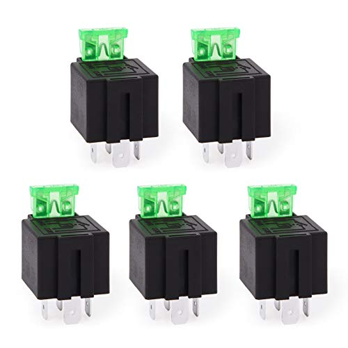 Ehdis Fused Relais EIN/Aus-12V 30A Automotive 4-Pin Sicherung Montagesockel Sockel SPST Metall Normally Open Auto Motor Automobil, 5er Pack