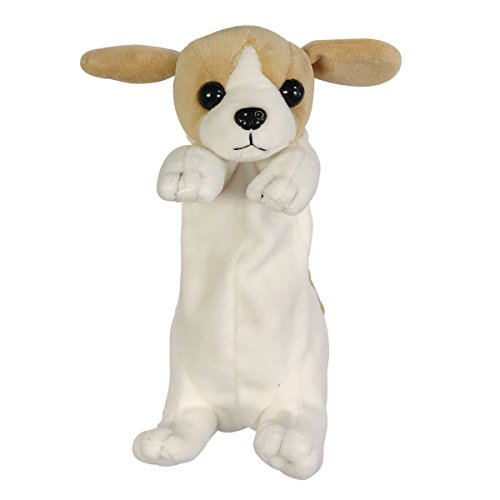 ALLYDREW Plush Dog Shaped Pencil Pouch, Tan and White