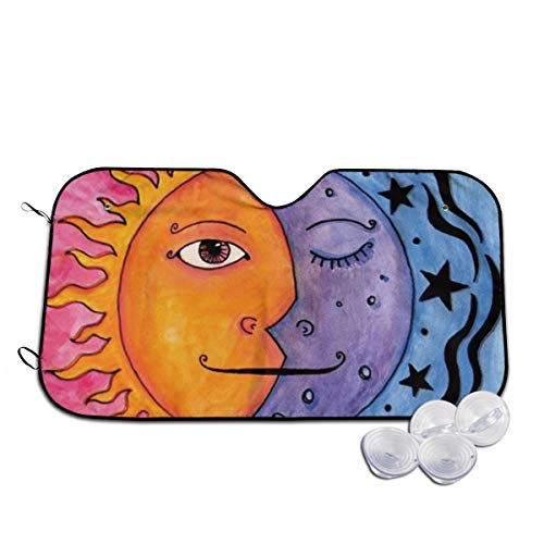 Yanghua Sun and Moon Painting Half Face Themed Interior Windshield Sun Shade Cover Summer Car Windows Visor Kit Ornament Decor Outdoor Vehicle Accessories Sunshade Auto for Women Men