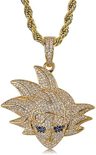 Hip Hop Cartoon Iced Out Bling Zirconia Pendant Chain Charm 18K Gold Plated Necklace for Men product image