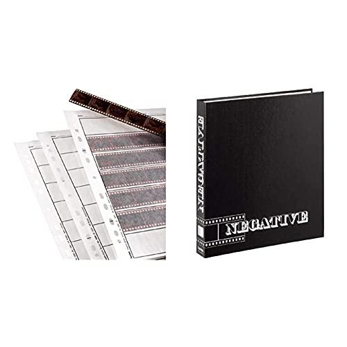 Hama - Negative Sleeves, 24 x 36 mm, Glassine Matt, 310 mm, 260 mm (Importado) + 9003 - Archivador de Negativos con Anillas (265 x 315 mm), Negro
