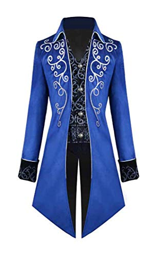 Nahshon Mens Vintage Tailcoat Jacket Gothic Long Steampunk Formal Gothic Victorian Tuxedo Frock Coat Costume for Halloween Blue