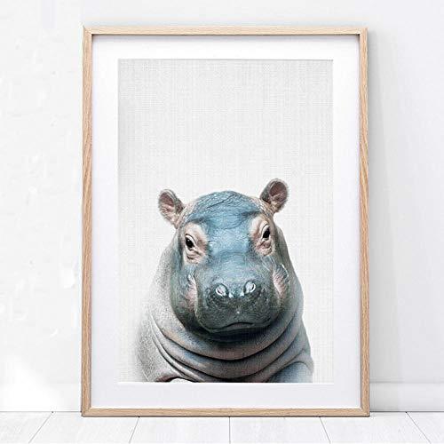 FANGYUAN Nursery Wall Art Hippo Print Baby Animal Wall Painting Posters and Prints Cute Hippopotamus Photo Boy Kids Bedroom Decoration 40X60CmSans Cadre