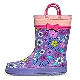 [KushyShoo] 長靴 女の子 レインブーツ キッズ ハンドル・収納袋付き 雨靴 男の子 男女兼用 梅雨対策 アウトドア 通園・通学用