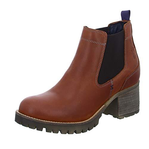 BULLBOXER Damen Stiefeletten, Frauen Chelsea Boots,Stiefel,Halbstiefel,Bootie,Schlupfstiefel,hoch, Schlupfstiefel hoch Freizeit,Cognac,41 EU / 7.5 UK