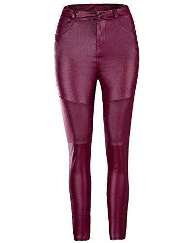 Mujer Leggings Elegantes Moda Vintage Primavera Otoo Leggins Cuero Color Slido Cintura Alta Basicas con Bolsillos Pantalon Cuero Pantalones De Jogging Pantalon Disfraz