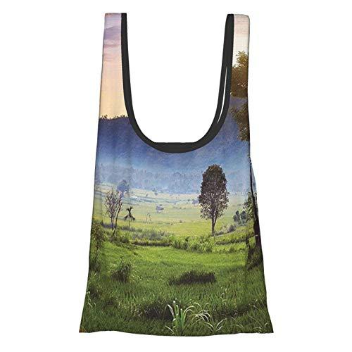 Colección de decoración balinesa campos de arroz trópicos colina tierra granja terraza árbol cosecha campos reutilizables bolsas de comestibles ecológicas