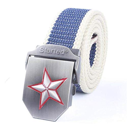 Cinturón Lona,Borde Azul Beige Hombres Mujeres Cinturón De Lona Moda Casual Cinturón De Hebilla De Doble Anillo Cinturones De Jeans De Rayas De Color Para Mujeres Correa Masculina De Alta Calida
