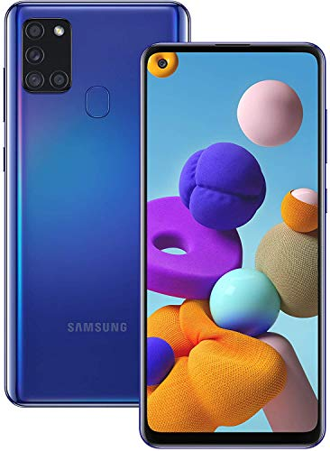 "Samsung Galaxy A21S (64GB, 4GB) 6.5"", Quad Camera, All Day Battery Dual SIM GSM Unlocked Global 4G LTE Volte (T-Mobile, AT&T, Metro, Straight Talk) International Model A217M/DS (64GB SD Bundle, Blue)"