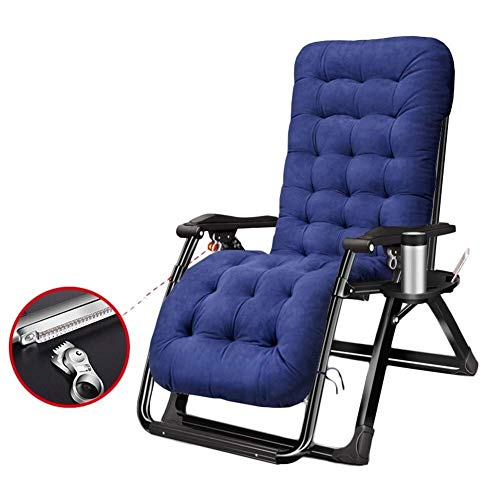 JFFFFWI Bequeme, schwerfällige, schwerelose Sofa-Liege mit Getränkehaltern und Kissen, Liegestuhl im Freien für den Garten , Terrasse, Pool, Stütze 200 kg Blau (Farbe: Silber)