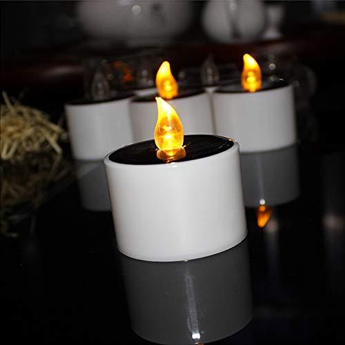 1 pz Luci da Tè ad Energia Solare - Candela Senza Fiamma Candele a LED Luce da Tè Luce Bianca Calda Notte Romantica Atmosfera Romantica Ricevimento di Nozze Lanterna Festa Decorazioni 6 x 5,3 cm