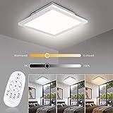 Albrillo 20W LED Deckenleuchte Panel, Dimmbar Deckenlampe mit Einstellbar Farbtemperatur, inkl. Aluminiumrahmen und Fernbedienung, Schlafzimmer Wohnzimmer Küche geeignet, IP20, 30x30x5cm