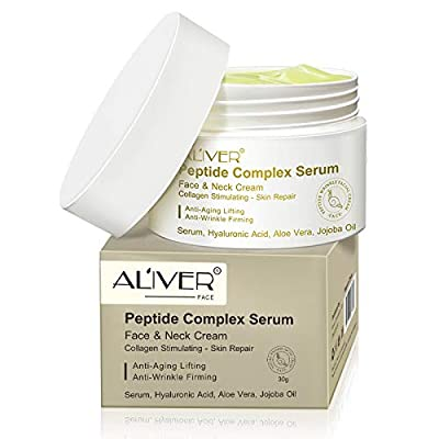 PREMIUM Peptide Complex Serum For Face Neck with Serum, Hyaluronic Acid, Aloe Vera, Jojoba Oil Anti Ageing & Anti Wrinkle Plump, Hydrate & Revitalize your Skin While Filling Fine Lines and Wrinkles by Aliver Cosmetics