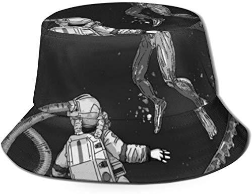 DUTRIX Sombreros de Cubo Transpirables con Parte Superior Plana Bikini Unisex Mujeres en el Espacio Sombrero de Cubo de Playa Sombrero de Pescador de Verano