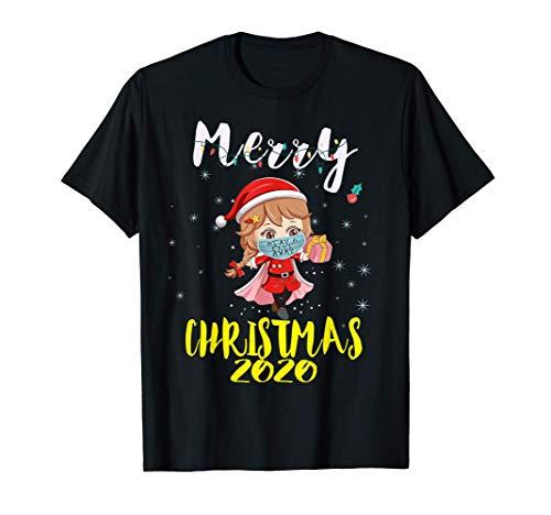 Santa Girl Anime Face Mask Stay 6 Feet Quarantine Christmas Camiseta