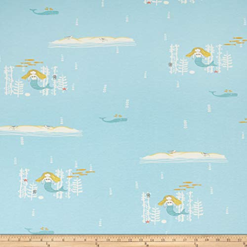 Birch Organic Fabrics Birch Organic Storyboek Drie Mermaids Stretch Jersey Knit Fabric, 1, Aqua, Fabric by the Yard