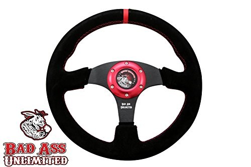 SXS - UTV 6 HOLE SUEDE STEERING WHEEL WITH ANODIZED RING