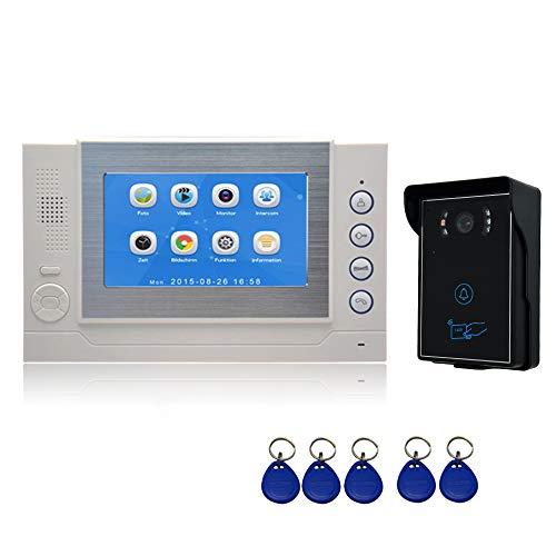 """Nudito Kit Timbre de Puerta para Casa, Videoportero Universal (1 Monitor LCD de 7"""" con Pantalla Táctil, 1 Cámara Infrarroja Exterior Impermeable con Visión Nocturna. Desbloquear con Tarjetas de RFID)"""