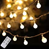 Christmas String Lights Outdoor, 100 Led 49 ft Globe Fairy Lights with Remote and Timer, Extendable Twinkle Lights for Wedding Bedroom Balcony Wall Patio Xmas Tree New Year Indoor and Outdoor Decor