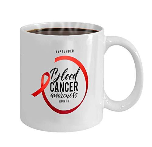 Taza de café personalizada Regalos de cerámica Taza de té Esperanza de cáncer Etiqueta de concienciación sobre el cáncer de sangre Tamplate de vector con cinta roja Símbolo de la lucha contra