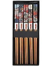 5 Pares De Palillos De Bambú, Palillos Japoneses Reutilizables, Juegos De Regalo De Palillos Coreanos, 8,9 Pulgadas