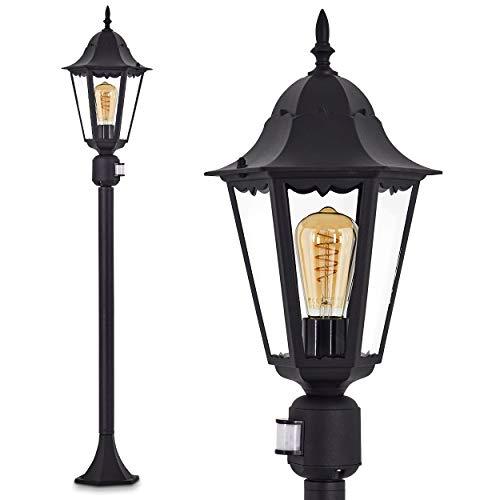 Außenstehleuchte Hongkong mit Bewegungsmelder, Stehlampe in antikem Look, Aluguss in schwarz matt mit Klarglas-Scheiben, Wegeleuchte 122 cm, Retro/Vintage Gartenlampe, E27-Fassung, je max. 100 Watt, IP44