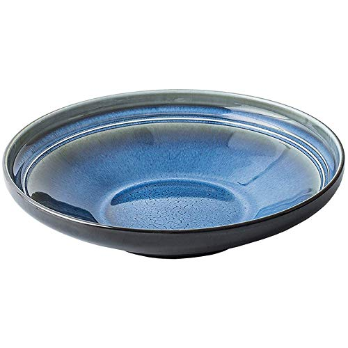 KEKEYANG Placa de Horno Esmalte Creativo Restaurante Occidental Alimentos cerámica de la Fruta Placa de Ensalada Plato Hondo Europea Plato Plato Azul 25X5.5Cm Platos