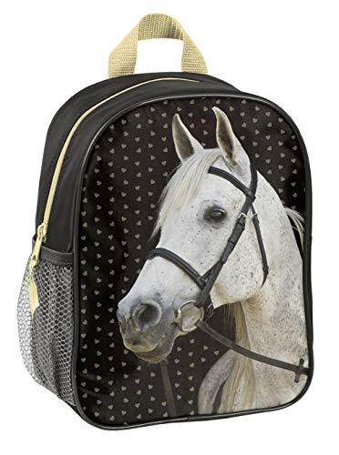 Ragusa-Trade Mochila infantil con diseño de caballos, para niños y niñas (18) con compartimento principal y red para bebidas, 28 x 22 10 cm, color negro y dorado