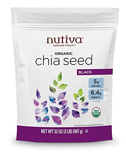 Nutiva USDA Organic Premium Nutrient-Dense Raw Black Chia Seeds with 5g Protein & 10g Fiber for Salads, Yogurt & Smoothies, Non-GMO, Vegan, Gluten-Free, Keto & Paleo, 32 Ounce