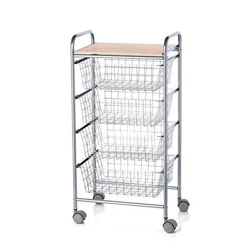 DON HIERRO - Verdulero de cocina con 4 cestas y ruedas -BEECH
