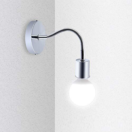 Bonlux Wandleuchte Wandlampe E27 Flexibel Schwanenhals aus Edelstahl, Leselampe für Nachttisch, Nachtlicht, Badspiegel, Flur, Deckenleuchte
