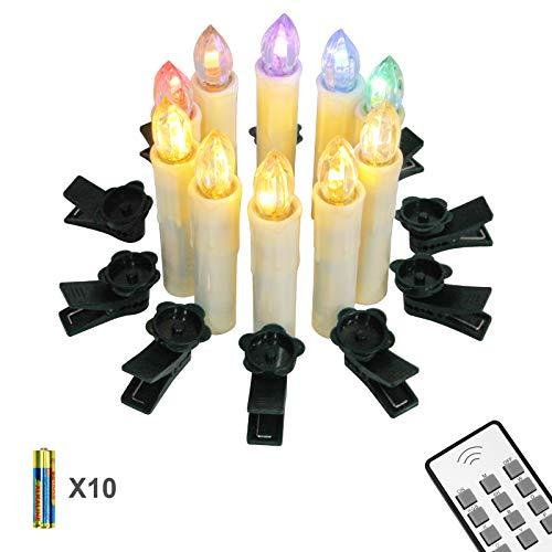 bester Test von kabellose led weihnachtskerzen Yorbay 10 LED Candle Wireless Weihnachtskerze IP64 Wasserdichtes RGB und Warmweiß mit Batterie,…